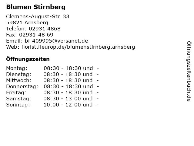 Blumen Stirnberg in Arnsberg: Adresse und Öffnungszeiten