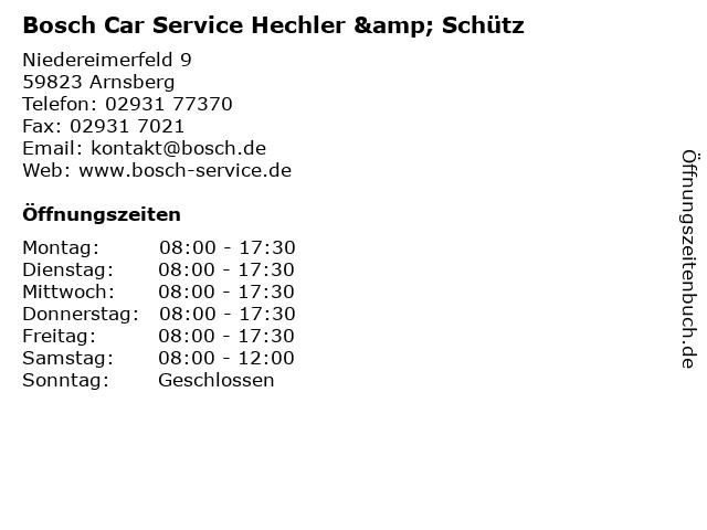 Bosch Car Service Hechler & Schütz in Arnsberg: Adresse und Öffnungszeiten