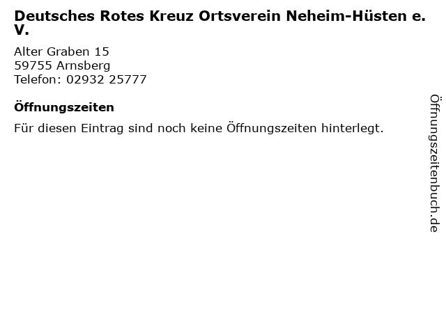 Deutsches Rotes Kreuz Ortsverein Neheim-Hüsten e.V. in Arnsberg: Adresse und Öffnungszeiten