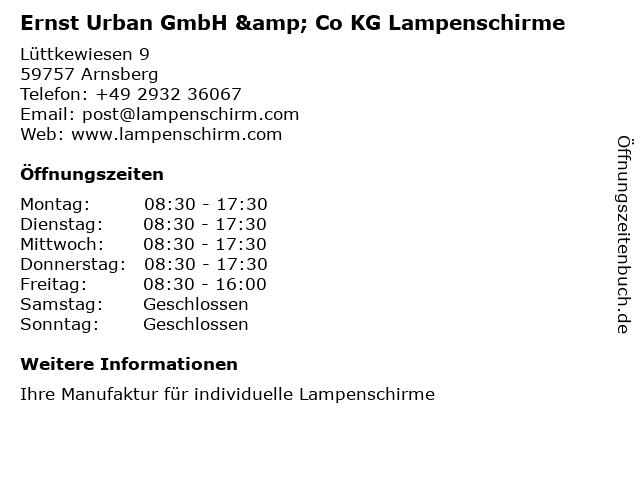 Urban GmbH in Arnsberg: Adresse und Öffnungszeiten