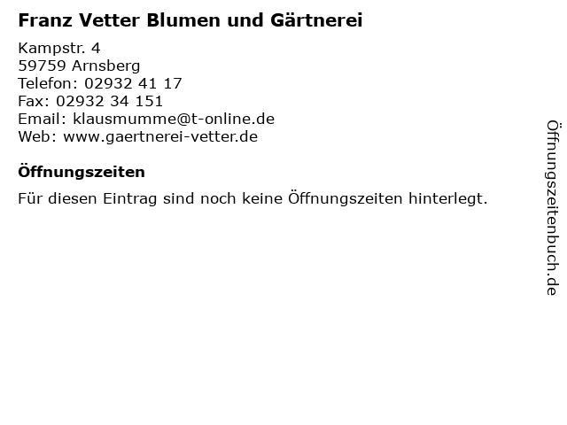 Franz Vetter Blumen und Gärtnerei in Arnsberg: Adresse und Öffnungszeiten