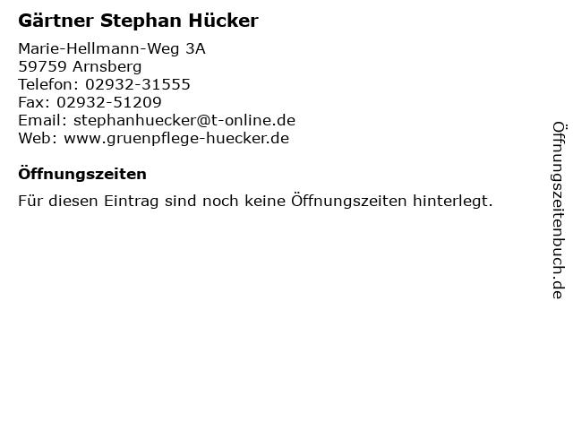 Gärtner Stephan Hücker in Arnsberg: Adresse und Öffnungszeiten