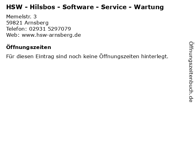 HSW - Hilsbos - Software - Service - Wartung in Arnsberg: Adresse und Öffnungszeiten