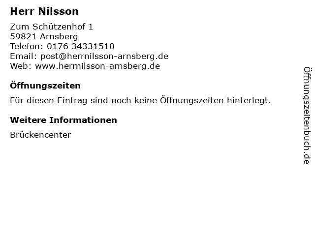 Herr Nilsson in Arnsberg: Adresse und Öffnungszeiten
