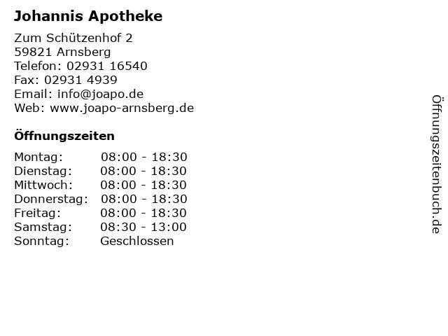 Johannis Apotheke in Arnsberg: Adresse und Öffnungszeiten