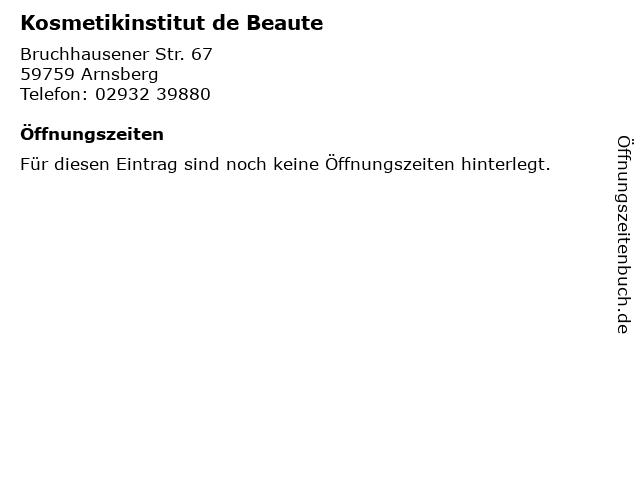Kosmetikinstitut de Beaute in Arnsberg: Adresse und Öffnungszeiten