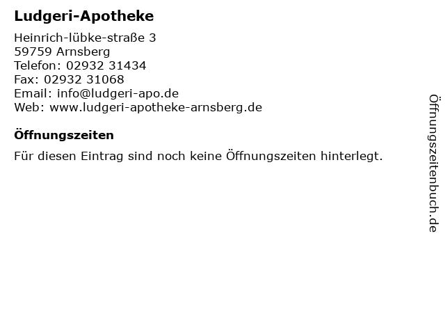 Ludgeri-Apotheke in Arnsberg: Adresse und Öffnungszeiten