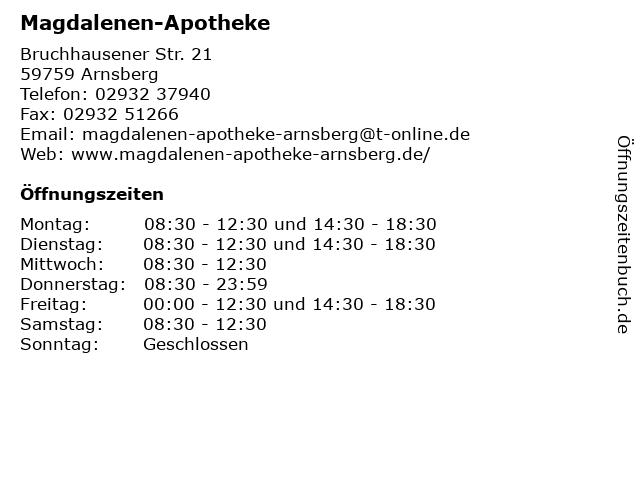 Magdalenen-Apotheke in Arnsberg: Adresse und Öffnungszeiten