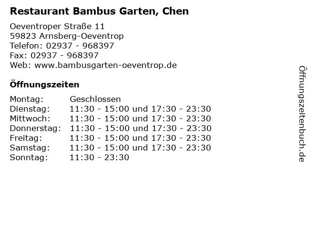 ᐅ Offnungszeiten Restaurant Bambus Garten Chen Oeventroper Str