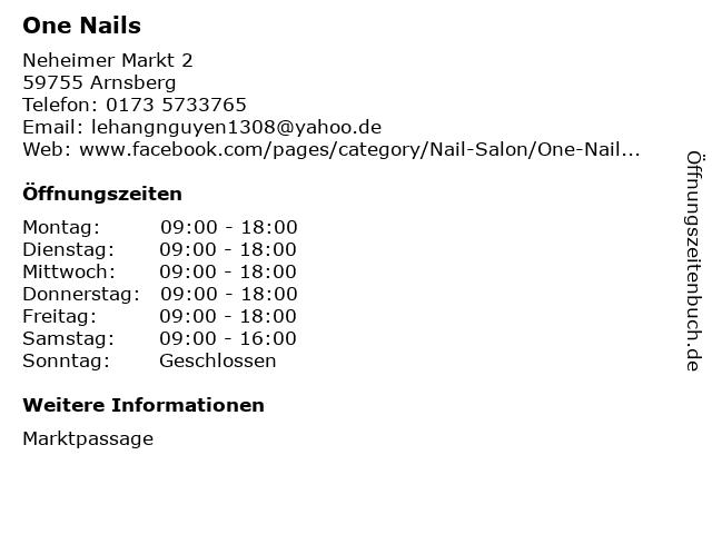 One Nails in Arnsberg: Adresse und Öffnungszeiten