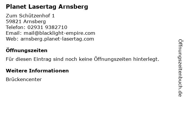 Planet Lasertag Arnsberg in Arnsberg: Adresse und Öffnungszeiten