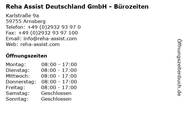 Reha Assist Deutschland GmbH - Bürozeiten in Arnsberg: Adresse und Öffnungszeiten
