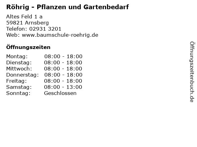 Röhrig - Pflanzen und Gartenbedarf in Arnsberg: Adresse und Öffnungszeiten