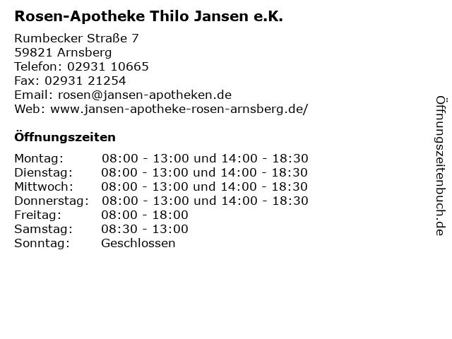 Rosen-Apotheke in Arnsberg: Adresse und Öffnungszeiten
