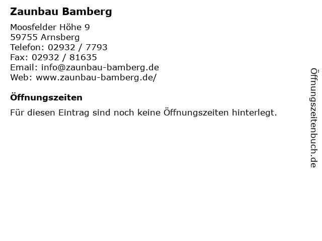 Zaunbau Bamberg in Arnsberg: Adresse und Öffnungszeiten