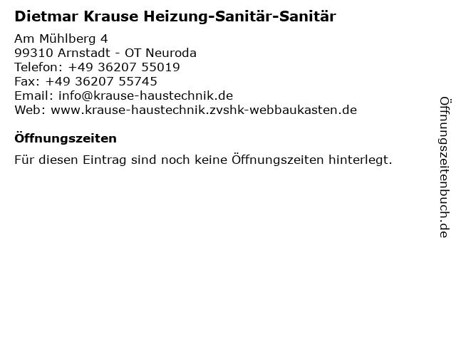 Dietmar Krause Heizung-Sanitär-Sanitär in Arnstadt - OT Neuroda: Adresse und Öffnungszeiten