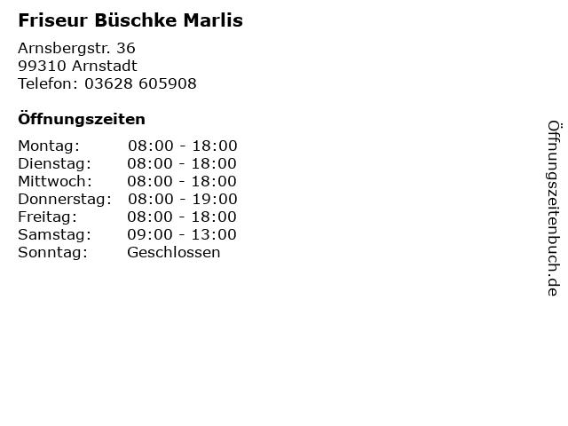 Friseur Büschke Marlis in Arnstadt: Adresse und Öffnungszeiten
