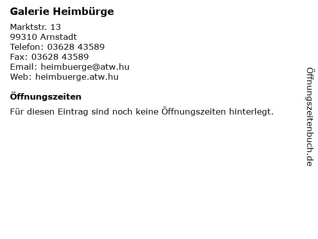 Galerie Heimbürge in Arnstadt: Adresse und Öffnungszeiten
