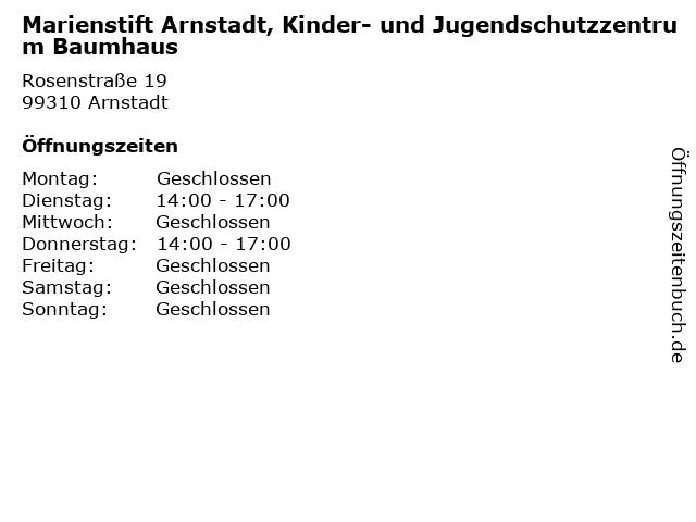 Marienstift Arnstadt, Kinder- und Jugendschutzzentrum Baumhaus in Arnstadt: Adresse und Öffnungszeiten