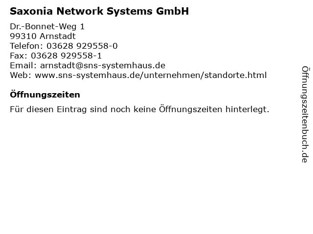 Saxonia Network Systems GmbH in Arnstadt: Adresse und Öffnungszeiten