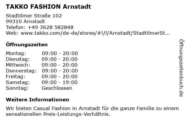 Takko Fashion in Arnstadt: Adresse und Öffnungszeiten