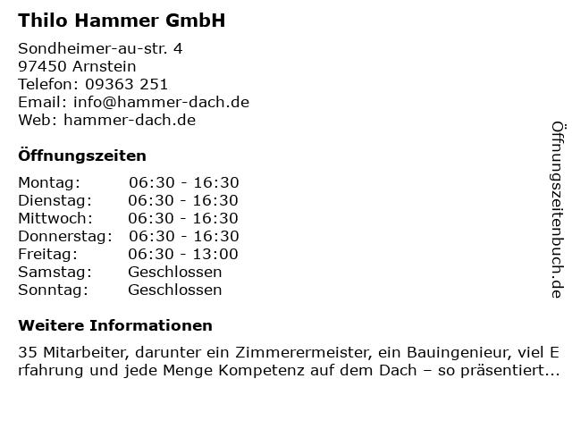 Dachdeckermeisterbetrieb Thilo Hammer GmbH in Arnstein: Adresse und Öffnungszeiten