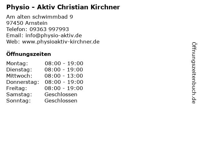 Physio - Aktiv Christian Kirchner in Arnstein: Adresse und Öffnungszeiten