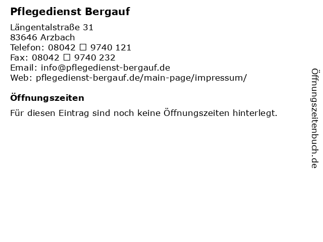 Pflegedienst Bergauf in Arzbach: Adresse und Öffnungszeiten