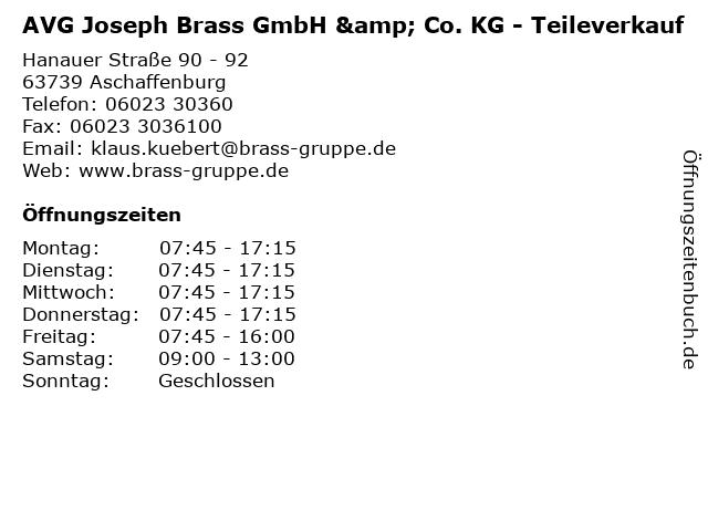 AVG Joseph Brass GmbH & Co. KG - Teileverkauf in Aschaffenburg: Adresse und Öffnungszeiten