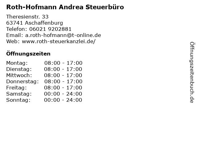 Andrea Roth-Hofmann Steuerberaterin in Aschaffenburg: Adresse und Öffnungszeiten