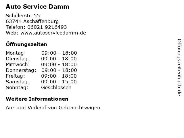 Auto Service Damm in Aschaffenburg: Adresse und Öffnungszeiten