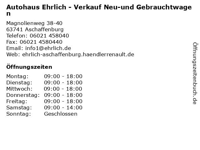 Autohaus Ehrlich - Verkauf Neu-und Gebrauchtwagen in Aschaffenburg: Adresse und Öffnungszeiten