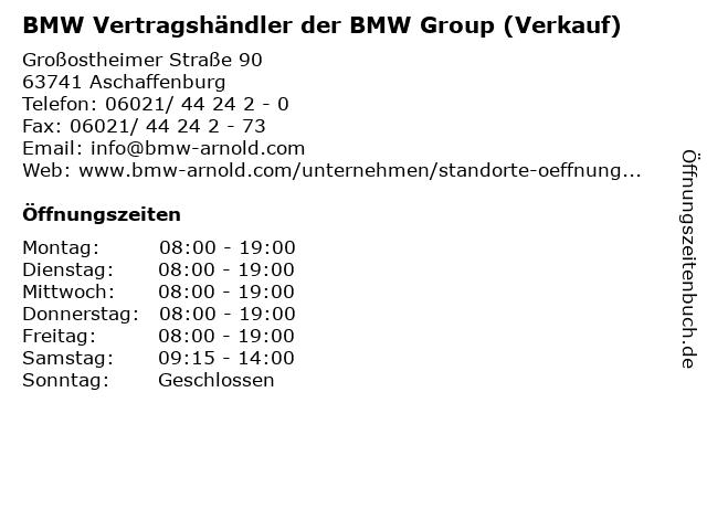 BMW Vertragshändler der BMW Group (Verkauf) in Aschaffenburg: Adresse und Öffnungszeiten