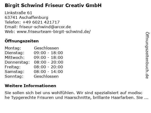 ᐅ öffnungszeiten Birgit Schwind Friseur Creativ Gmbh Linkstraße