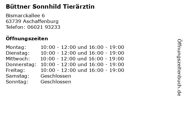 Á… Offnungszeiten Buttner Sonnhild Tierarztin Bismarckallee 6 In Aschaffenburg