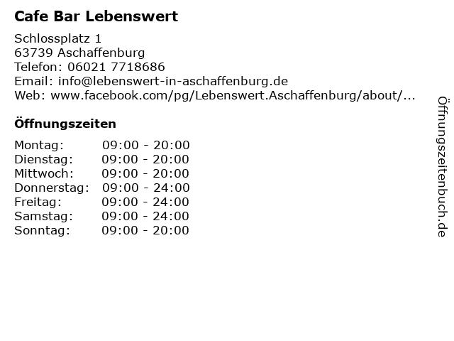 Cafe Bar Lebenswert in Aschaffenburg: Adresse und Öffnungszeiten