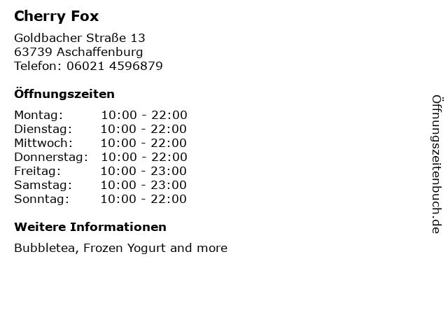 Cherry Fox in Aschaffenburg: Adresse und Öffnungszeiten