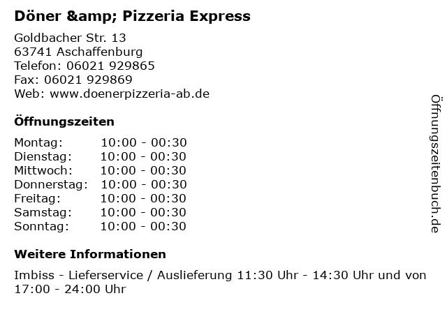 Döner & Pizzeria Express in Aschaffenburg: Adresse und Öffnungszeiten