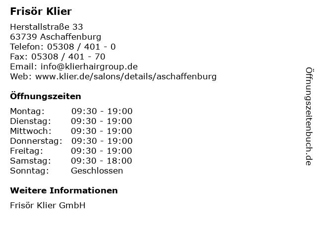 Frisör Klier in Aschaffenburg: Adresse und Öffnungszeiten