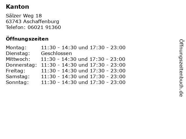 Kanton in Aschaffenburg: Adresse und Öffnungszeiten