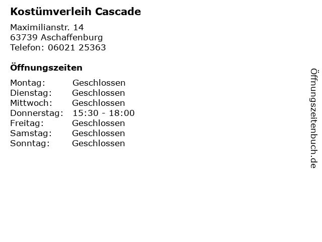 Kostümverleih Cascade in Aschaffenburg: Adresse und Öffnungszeiten