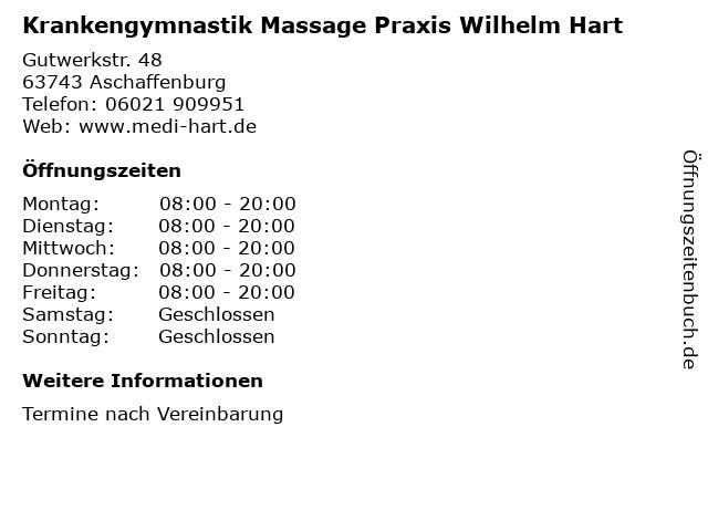 Krankengymnastik Massage Praxis Wilhelm Hart in Aschaffenburg: Adresse und Öffnungszeiten
