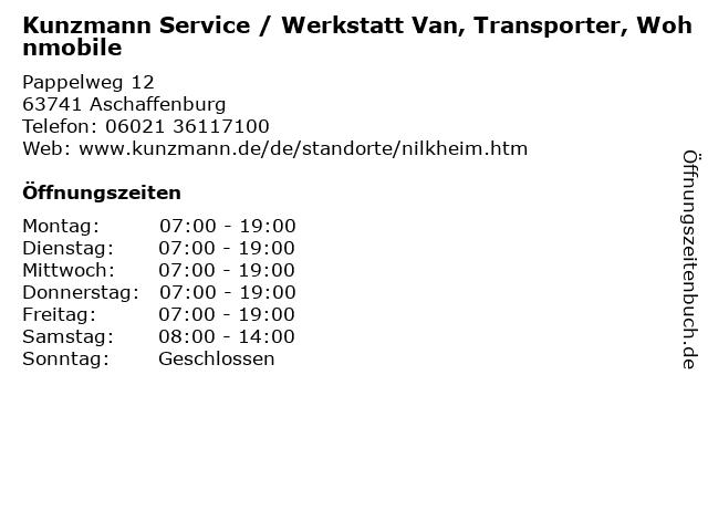 Kunzmann Service / Werkstatt Van, Transporter, Wohnmobile in Aschaffenburg: Adresse und Öffnungszeiten