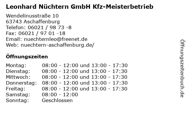 Leonhard Nüchtern GmbH Kfz-Meisterbetrieb in Aschaffenburg: Adresse und Öffnungszeiten