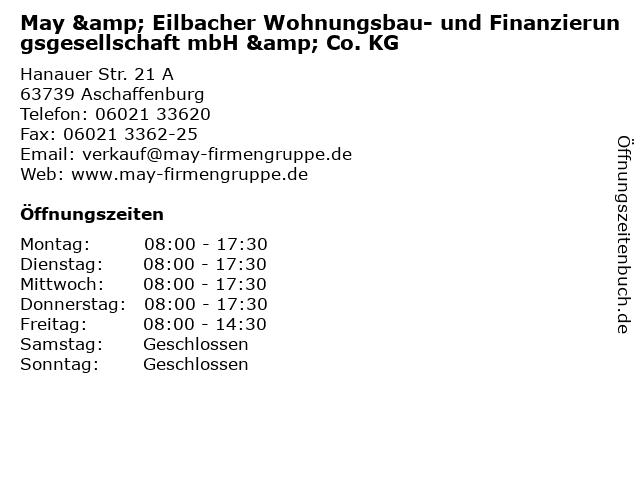 May & Eilbacher Wohnungsbau- und Finanzierungsgesellschaft mbH & Co. KG in Aschaffenburg: Adresse und Öffnungszeiten