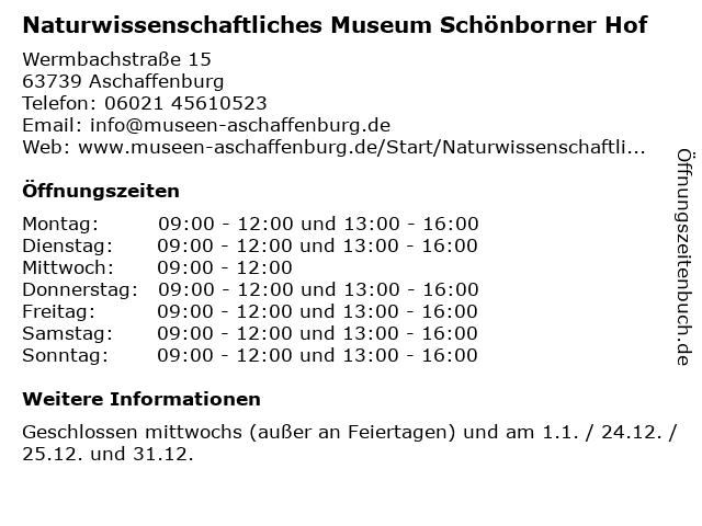Naturwissenschaftliches Museum Schönborner Hof in Aschaffenburg: Adresse und Öffnungszeiten