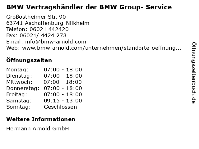 BMW Vertragshändler der BMW Group- Service in Aschaffenburg-Nilkheim: Adresse und Öffnungszeiten