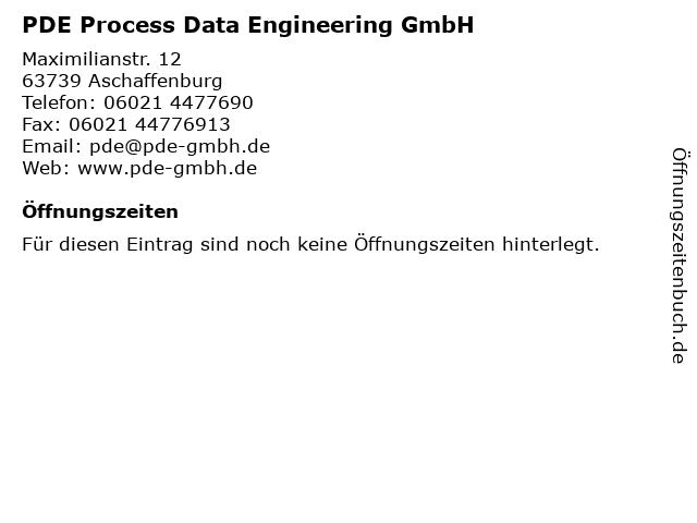 PDE Process Data Engineering GmbH in Aschaffenburg: Adresse und Öffnungszeiten