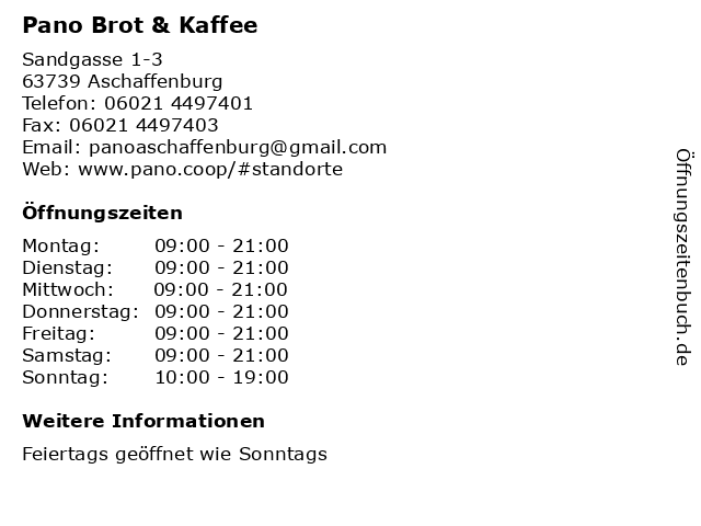 Pano Brot & Kaffee in Aschaffenburg: Adresse und Öffnungszeiten