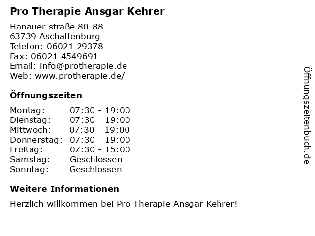 Pro Therapie Ansgar Kehrer in Aschaffenburg: Adresse und Öffnungszeiten